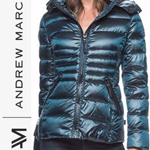 ANDREW MARC DOWN FILL 0 DEGREE TEAL PUFFER JACKET